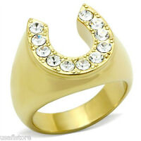 Horse Shoe Lucky Gold Tone Crystal Stones Mens Ring