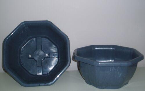 ciotole Set di due 25cm SOTTILE COLORE GRIGIO 4,3 LT PLASTICA OTTAGONALE FIORIERE