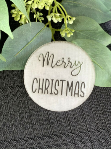 3D Raised Finish. Merry Christmas Cookie Embosser.Christmas Cookie Stamp