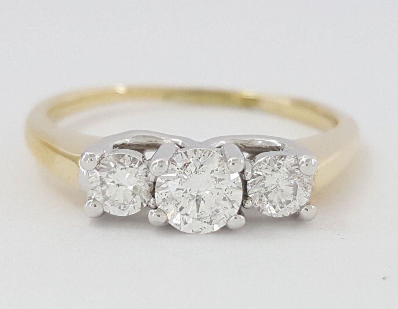 0.50 ct 14K & Platinum Three-Stone Round Cut Diamond Engagement Anniversary Ring