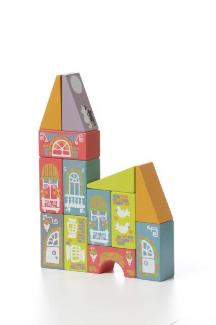 Wise Elk Wooden Toys Wood Blocks Fabulous City 15 Psc Ebay