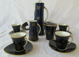 15-Pc-Vtg-Echt-Weimar-Kobalt-Blue-amp-Gold-Chocolate-Pot-Creamer-Sugar-Cup-Saucer