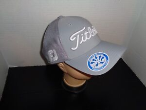 34ead8b7a72 Titleist True Fitted Hat Pro V1   FJ Double Logo White Grey Moisture ...