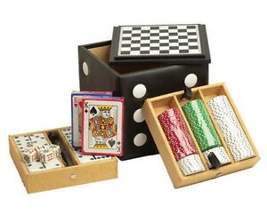 """15/"""" Black Leatherette Backgammon Game Set Red /& Black Game Pieces New"""