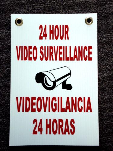 Security 24 Hr Video Surveillance  Coroplast  Sign  8x12 Spanish English
