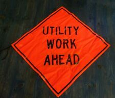 48 X 48 Utility Work Ahead Roll Up Mesh Traffic Sign