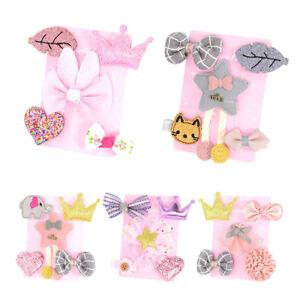 5Pcs Kid Baby Girls Crown Love Heart Bowknot Princess Hair Clip Hairpin Set New