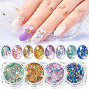 Nail-Art-Holographic-Glitter-Powder-Dust-Hexagon-Holographic-Shining-Nails-Tips