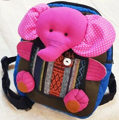 Pink Elephant Backpack Bags Thai Cotton Fabric Handmade Patchwork Hippie Boho