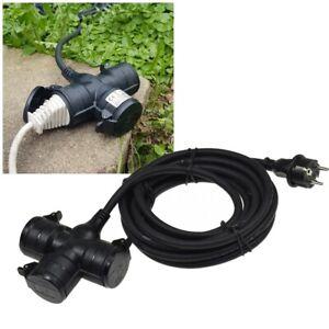 Verlängerungs-Kabel Außen-Bereich Outdoor 230V 5//10m 4-fach Garten-Steckdose