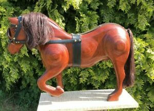 Sufficient Supply Carved Figures/models Vintage Hand Made Wooden Horse With Glass Eyes