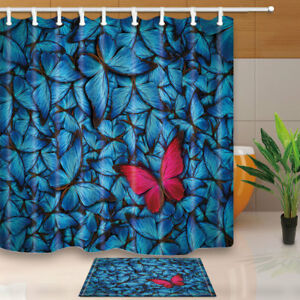 Image Is Loading Blue Butterfly And Red Shower Curtain Bathroom