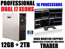 HP DUAL XEON I7 (16-PROCESSOR) 3.33GHz 4-MONITOR TRADING COMPUTER w/12G✓2TB✓W 10