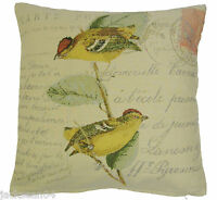 """RUSTIC GREEN GOLD CREAM FRENCH BIRDS TAPESTRY CHENILLE 18"""" THICK CUSHION COVER"""
