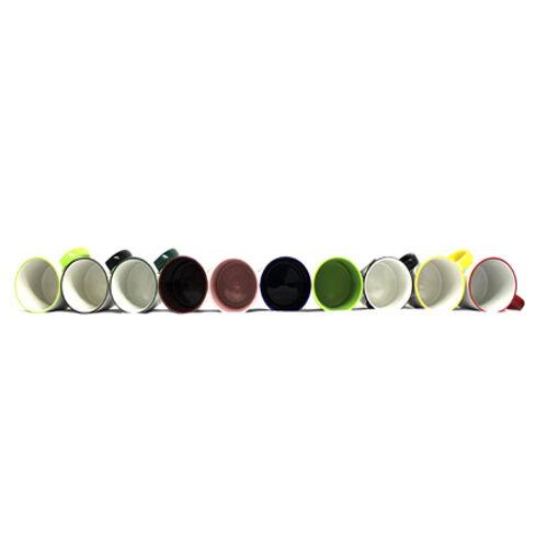 Sublimation Mug 10,11oz Colour Changing, Coloured Inner, Rim & Handle Heat Press