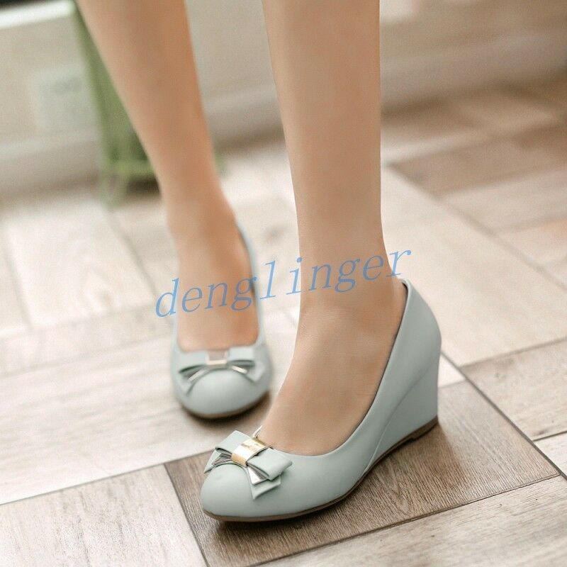 Womens Bowknot Round Toe Wedge Mid Heels Pump Office shoes Pull On Fashion NEW SZ