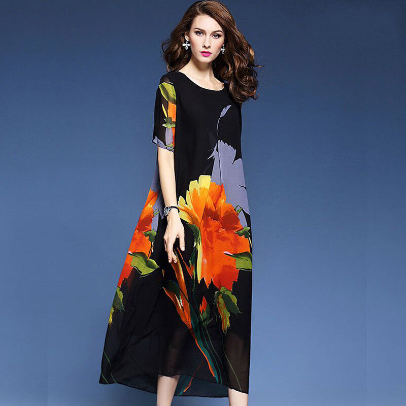 Womens Loose Floral Silk Blend Short Sleeve Summer Beach Dress Casual Maxi M-4XL