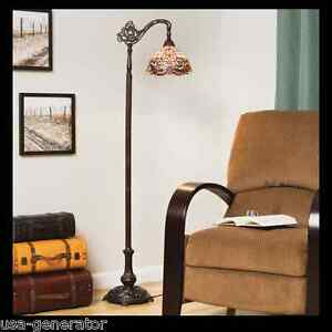 Floor Lamp Reading Light Stained Cut Glass Tiffany Style Handcrafted Vintage Ebay