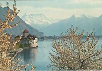 Switzerland - Chateau de Chillon et les Dents-du-Midi - Vintage Postcard