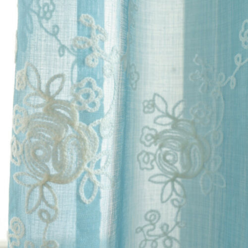 Embroidery Rose Fabric For Curtain Pelmets Voile Tulle Window Chic Fairy Sheer