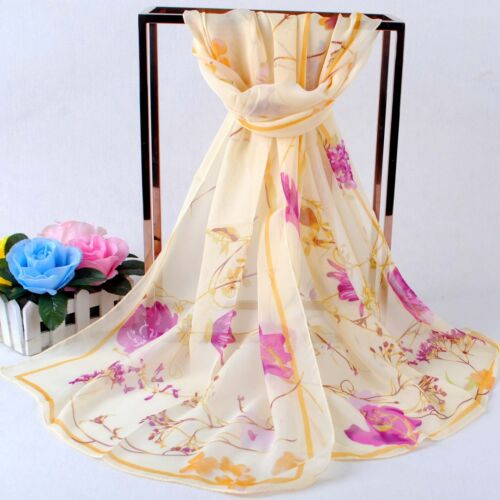 160 50cm Flowers Floral Fashion Ladies Scarves Chiffon Scarf Womens Shawls X261