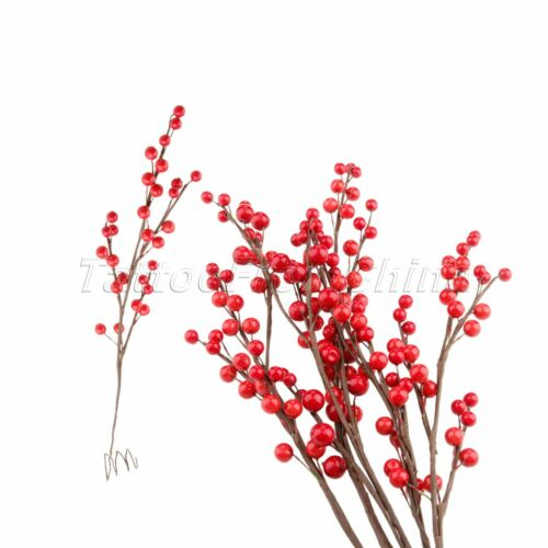 DIY Christmas Berry Branch Red Foam Artifical Holly Berries Decor 45cm 1//5Pcs