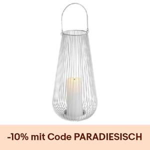 Laterne Lampe Leuchte Dekolampe Tischlaterne Weiß Windlichter Metall Modern Vega