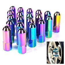 Neo Chrome 20Pcs Aluminum Extenden Tuner Lug Nuts 60MM For Wheels/Rims M12X1.5