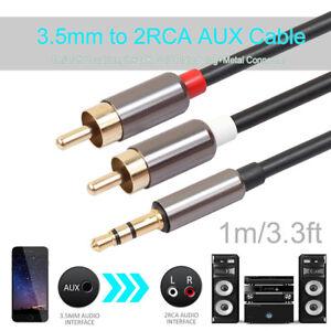 Audio-Kabel-3-5mm-Klinke-Stecker-auf-2x-Cinch-RCA-Jack-Stecker-AUX-1m-Alu