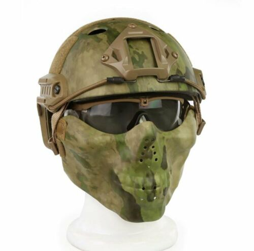 Tactical PJ Type Fast Helmet Mask Goggle Combination for Airsoft CS Military