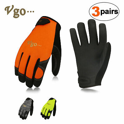 Vgo 3Pairs Deer Split Leather Work Gloves Mechanic Gloves,Touchscreen Co DB9702