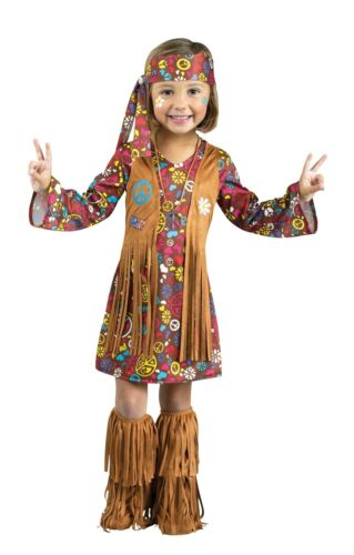 Peace Love Hippie 60s Child Girls Toddler Halloween Costume 24 mon 2T 3T 4T