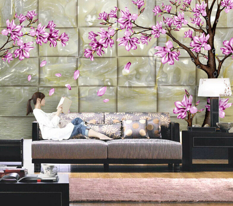 3D purple Blüten Baum 853 Tapete Wandgemälde Tapete Tapeten Bild Familie DE Summer