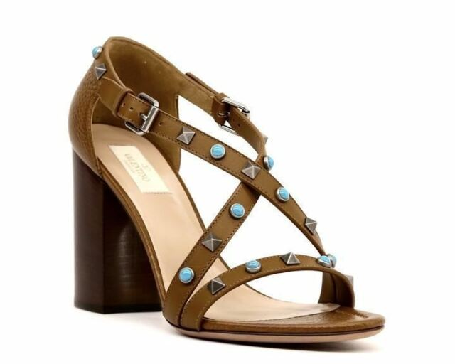 706c207e922 valentino Garavani Brown Rockstud Cross Strap Sandals PUMPS Size 36 6 MSPR  for sale online