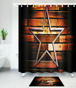 Brown Rustic Wood Panel Texas Lone Star Shower Curtain Bathroom Mat Rug Carpet