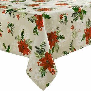 St Nicholas Square Botanical Poinsettia Holly Tablecloth 60x102 Ob Table Cloth Ebay