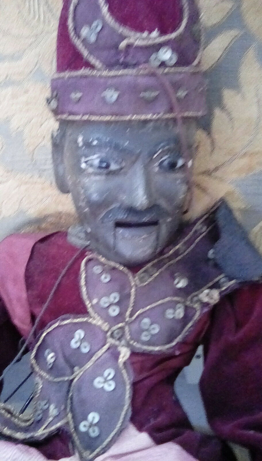 Antique wooden Indonesian man puppet with glass eyes open mouth