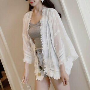 Lady-Chiffon-Crochet-Lace-Cardigan-3-4-Wide-Sleeve-Shirt-Top-Blouse-Tassel-Loose