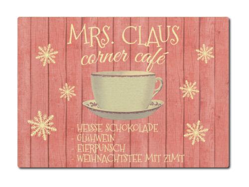 LUXECARDS POSTKARTE Holzpostkarte MRS CLAUS CORNER CAFE Weihnachten Weihnachtska