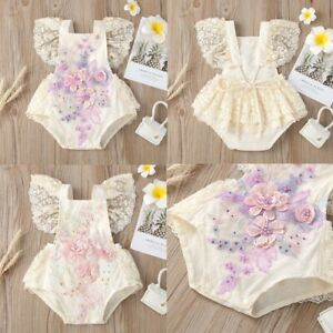 Baby Girls Romper Jumpsuit Flying Sleeves Flower Dress Birthday Clothes Toddler