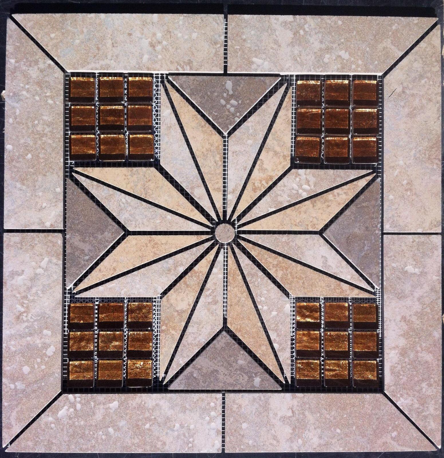16 3 8  Tile Medallion - Daltile's Castle de Verre series, glass
