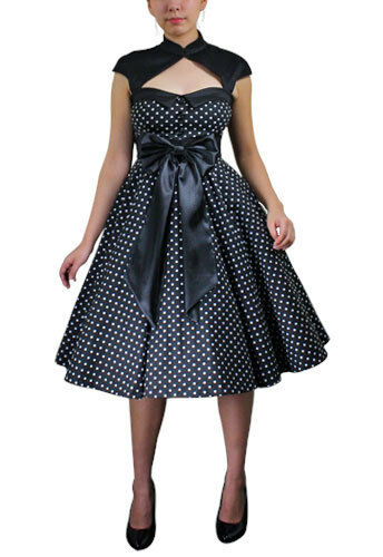 Plus Size Black Retro Rockabilly Swing Archaize Polka Dot Dress 1X 2X 3X 4X