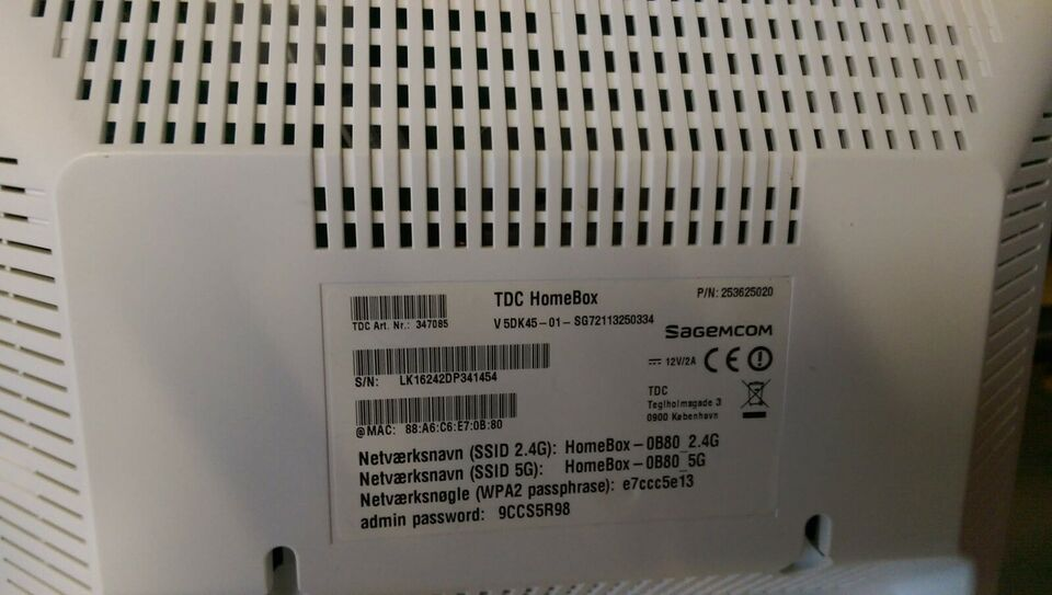 Router, wireless, TDC Homebox