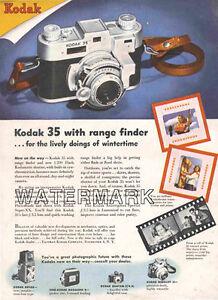 Kodak 35 Rangefinder Camera Color Advertisement, 1947: Original Vintage Ad