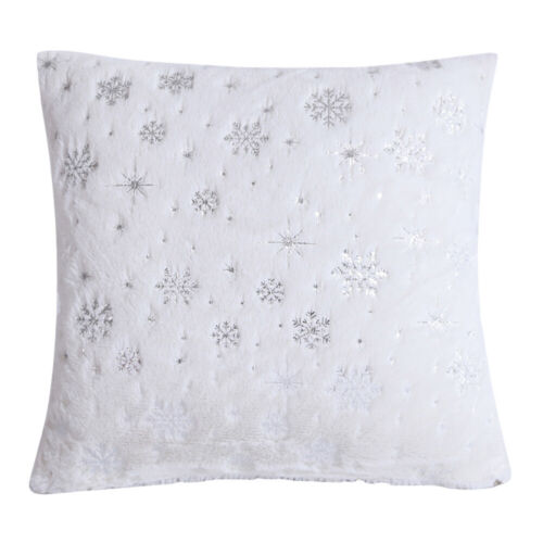 Snowflake Pattern Pillow Case Soft Square Cushion Covers for Sofa Home Decor
