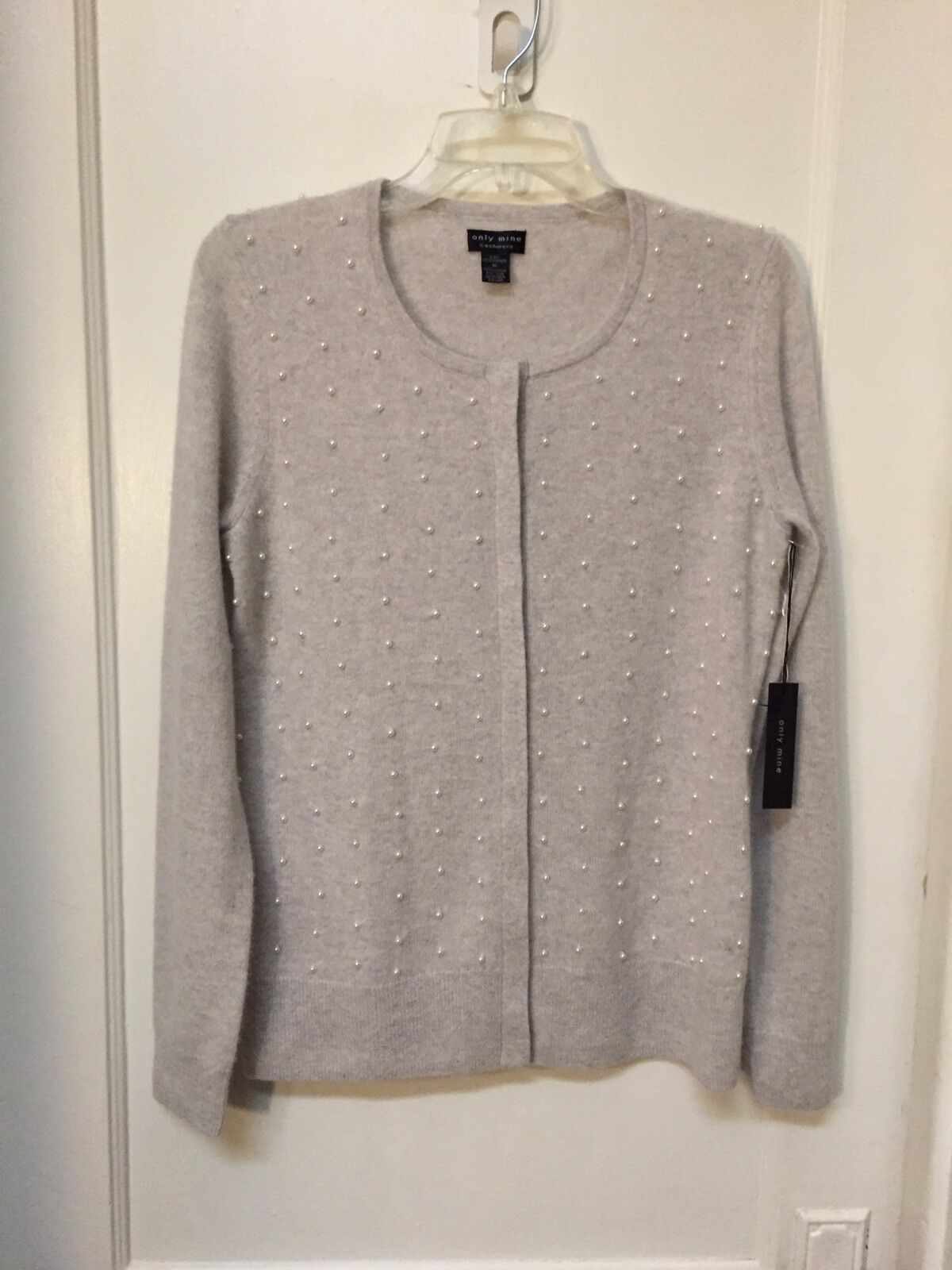 ONLY MINE 2-PLY CASHMERE SWEATER CARDIGAN EMBELLISHED NEW SIZE M