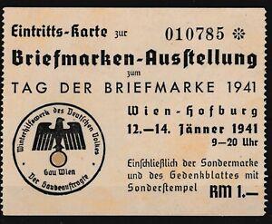 SELTEN-Original-Eintrittskarte-Ausstellung-Tag-der-Briefmarke-1941-Wien