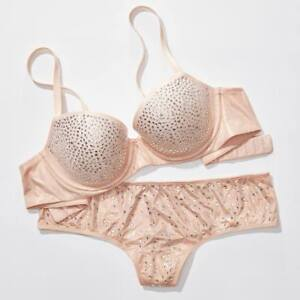 2861fee0f4 Details about Victoria's Secret Dream Angels Demi Bra rhinestones  embellished crystal Nude EXV