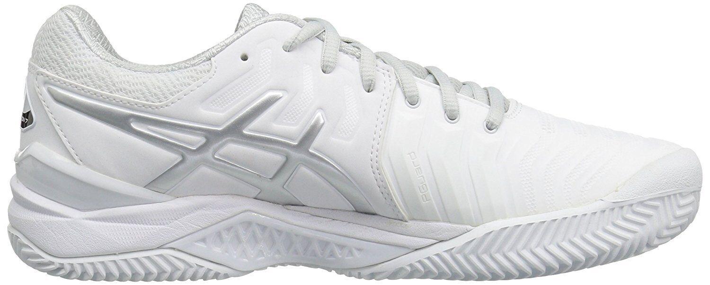Asics Gel de resolución 7 Clay Tribunal Zapatos Tenis Hombre Zapatillas-blancoo Plateado