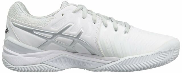 ASICS GEL Resolution 7 CLAY Court men's tennis shoes sneakers WhiteSilver